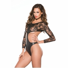 Allure 4-3602K Lace and Wet Look Teddy