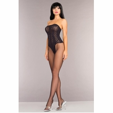 Black Opaque Strapless Bodystocking