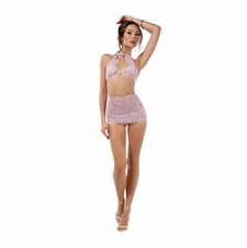 Blushing Halter Lace Top With Skirt And Thong
