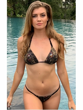 Braided Tonga Olive Jungle Print Bikini Swim Suit