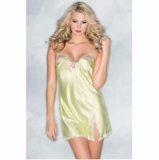 Satin Babydoll With Lace Trim