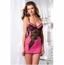 Chemise With Lace Mesh Design And Thong