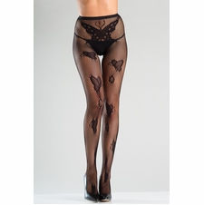 Crotchless Fishnet Tights With Butterfly Design