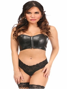 Daisy Corsets Black Faux Leather Short Bustier Top