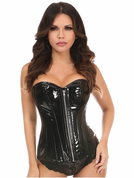 Daisy Corsets Black Patent PVC Steel Boned Over Bust Corset