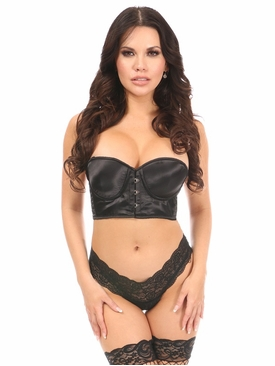 Daisy Black Satin Underwire Short Bustier