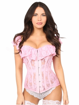 Daisy Corsets Lt Pink Sheer Lace Steel Boned Corset