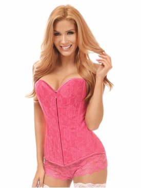Daisy Corsets Pink Lace Overbust Corset w/Zipper