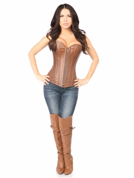 Daisy Corsets TD-052 Distressed Brown Faux Leather Steel Boned Corset
