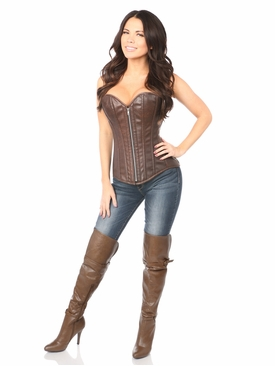 Daisy Corsets TD-053 Distressed Brown Faux Leather Steel Boned Corset