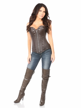 Daisy Corsets TD-054 Distressed Faux Leather Steel Boned Corset