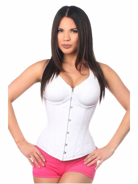 Daisy Corsets White Cotton Steel Boned Underbust Corset w/Busk Closure
