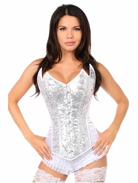 Daisy Corsets White/Silver Sequin Pointed Top Steel Boned Corset