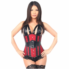 Daisy Faux Leather & Brocade Steel Boned Underbust Corset