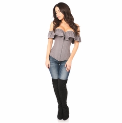 Daisy Grey Cotton Off-The-Shoulder Corset