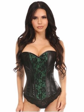 Daisy Wet Look Overbust Corset Green w/Lace Overlay