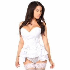 Daisy LV-175 White Satin Corset w/Removable Snap on Skirt