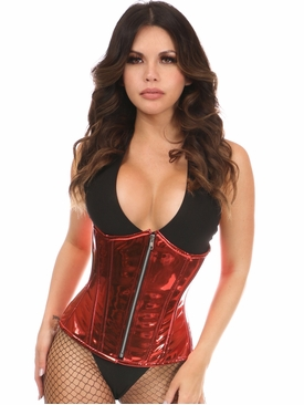 Daisy Corsets Red Metallic Steel Boned Under Bust Corset