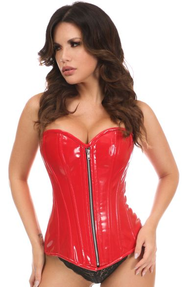 Daisy Red Patent PVC Steel Boned Over Bust Corset