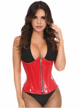 Daisy Corsets Red Patent PVC Steel Boned Under Bust Corset