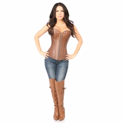 Daisy TD-052 Distressed Brown Faux Leather Steel Boned Corset