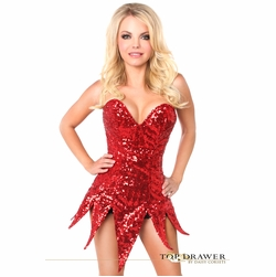 Daisy TD-680 Top Drawer Red Sequin Steel Boned Corset Dress