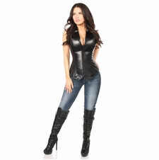 Daisy Top Drawer Faux Leather Collared Steel Boned Corset
