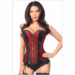 Daisy Two-Tone Wine Brocade & Faux Leather Steel Boned Corset