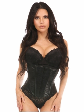 Daisy Wet Look Under Bust Corset Black w/Lace Overlay