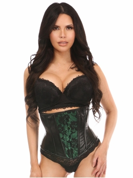 Daisy Wet Look Under Bust Corset Green w/Lace Overlay