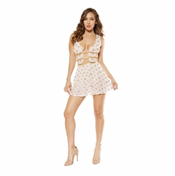 Dancewear 2 Piece Sheer Mesh Flare Dress and High-Waisted Shorts