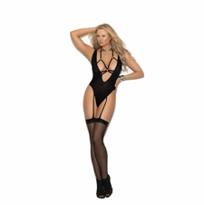 Deep V Opaque Teddy With O Rings And Adjustable Garters