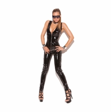 Elegant Moments V9216 Deep V Vinyl Catsuit With Zipper Front