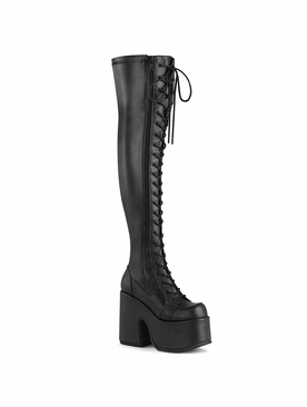 Demonia Camel-300 Lace-Up Stretch Thigh-High Boot