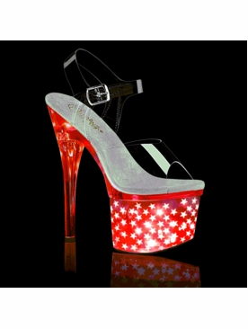 Pleaser Discolite-708STAR LED Flashing Stripper Heels