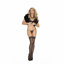 Elegant Moments 1113 Sheer Thigh Hi With Striped Elastic Band