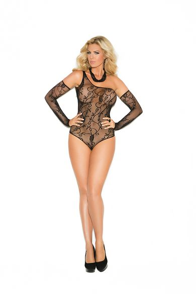 Plus Size Elegant Moments 1147Q Fishnet Teddy And Gloves