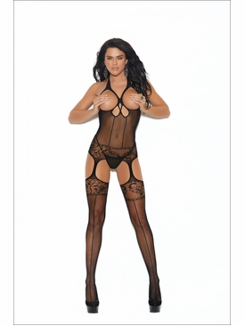 Elegant Moments 12015 Crochet Suspender Bodystocking