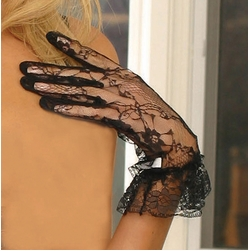 Elegant Moments 1260 Wrist Length Lace Gloves with Ruffle Trim