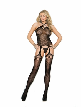 Elegant Moments 1307 Crochet Suspender Bodystocking