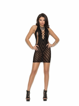 Elegant Moments 1371 Crochet Halter Neck Mini Dress