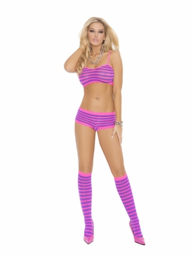 Elegant Moments 1548 Striped Short, Cami And Knee Hi's