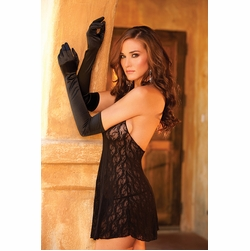 Elegant Moments 1600 Stretch Lace Gloves with Satin Bows