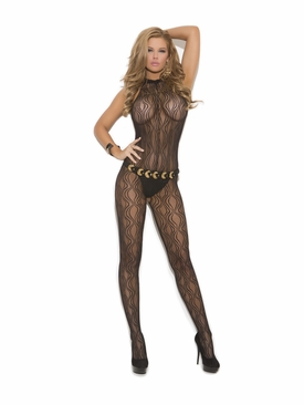 Elegant Moments 1602 Swirl Lace Halter Bodystocking