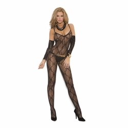 Elegant Moments 1604 Bow Tie Lace Bodystocking with Gloves