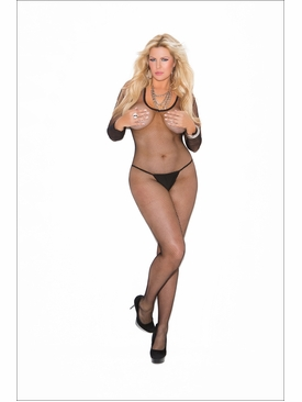 Elegant Moments 1615Q Fishnet Long Sleeve Bodystocking