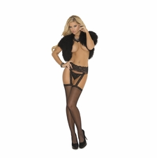 Elegant Moments 1713 Fishnet Thigh Hi with Lace Garter Belt