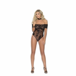 Elegant Moments 7254 Off The Shoulder Lace Teddy