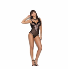 Elegant Moments 7268 Mesh Teddy W/Embroidered Details