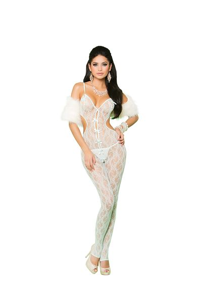 Elegant Moments 81227 Lace Bodystocking With Satin Bow